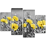 Poppies Field Floral Canvas Wall Art Black White and Yellow Modern Wall Art Decor
