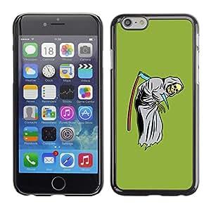 Eason Shop / Hard Slim Snap-On Case Cover Shell - Green Funny Grim Reaper Scythe Skull - For Apple Iphone 6