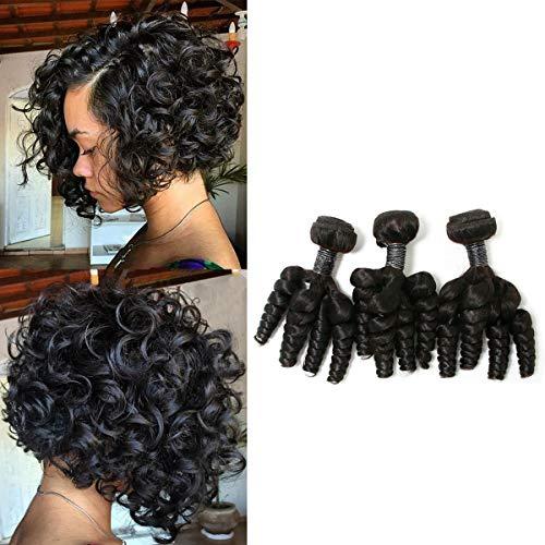 SingleBest Funmi Human Hair 3 Bundles 8A Brazilian Virgin Remy Hair Short Curly Weave for Women Natural Color (8