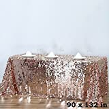 BalsaCircle 90-Inch x 132-Inch Blush Big Payette Sequin Tablecloth Table Linens Wedding Party Events Decorations Kitchen Dining