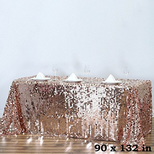 BalsaCircle 90-Inch x 132-Inch Blush Big Payette Sequin Tablecloth Table Linens Wedding Party Events Decorations Kitchen Dining by BalsaCircle
