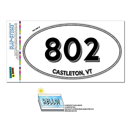 Graphics and More Area Code Euro Oval Window Laminated Sticker 802 Vermont VT Adamant - East Burke - Castleton