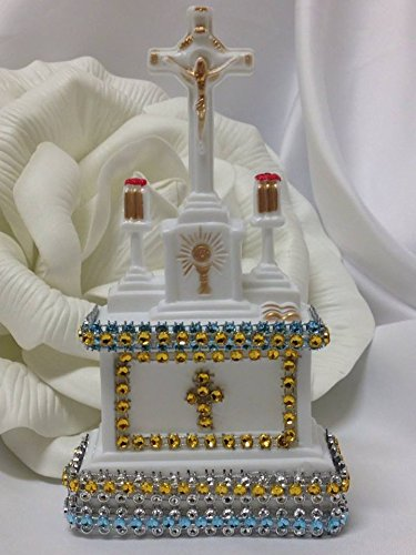 White Simulated Rhinestone Church Back Cake Top for Wedding Christening Religious Occasion