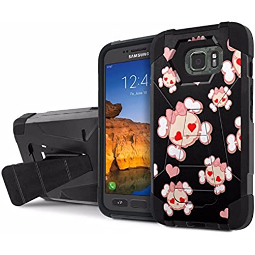 AT&T [Galaxy S7 Active] Armor Case [NakedShield] [Black/Black] Tough ShockProof [Kickstand] Phone Case - [Black Cutie Skull] for Samsung Galaxy [S7 Active] Sales