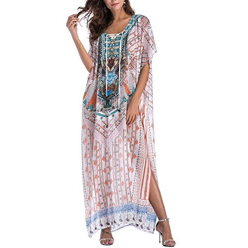 415a2b8bc8315 SMUDGE Life Women's White Ethnic Print Kaftan Maxi Dress Summer Beach Dress  - Buy Online in UAE.   Apparel Products in the UAE - See Prices, ...