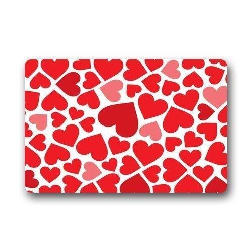 Pingshoes Door Mats Heart Shape Pebble Stone Machine Washable Fabric & Nonslip Rubber Backing Indoor/Outdoor Doormat Floor Mat ()