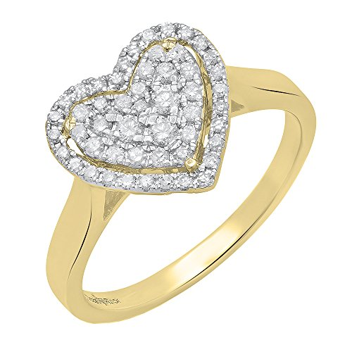 Dazzlingrock Collection 0.35 Carat (ctw) 14K Round Diamond Ladies Heart Shaped Engagement Ring 1/3 CT, Yellow Gold, Size 4.5