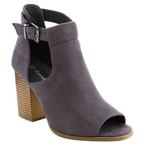 Reneeze AF79 Women's Cut Out Chunky Heel Buckle Heels Sandals, Color:Grey, Size:10