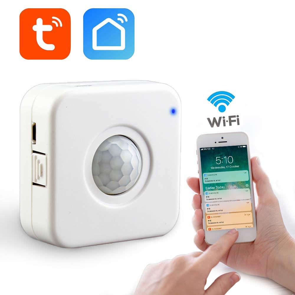 aixi-SHS Wi-Fi PIR Sensor de Movimiento Activa alertas Detector de Movimiento - Fuente de alimentación USB - TuyaSmart/Smart Life App Control