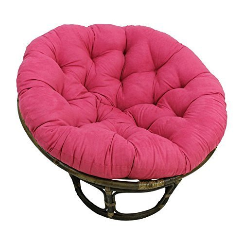 International Caravan 3312-MS-BB-IC Furniture Piece Rattan 42-inch Papasan Chair with Micro Suede Cushion