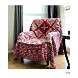 Luxury Geometry Cotton Throw Blanket - America Countryside Design Double-faced Blanket 35 x 35 Inch