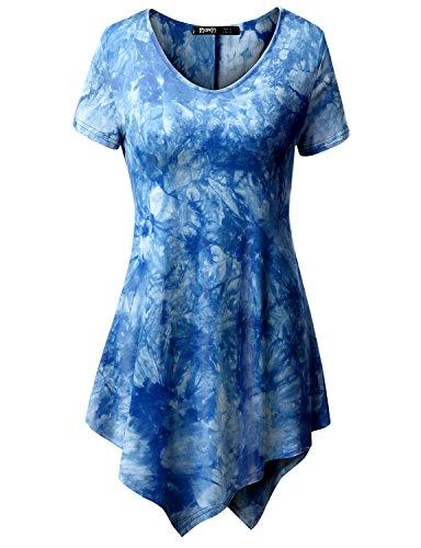 TWINTH Printed Tunic Plus Size Tie Dye Short Sleeve Handkerchief Hem Loose Fit Top Blue 2XL