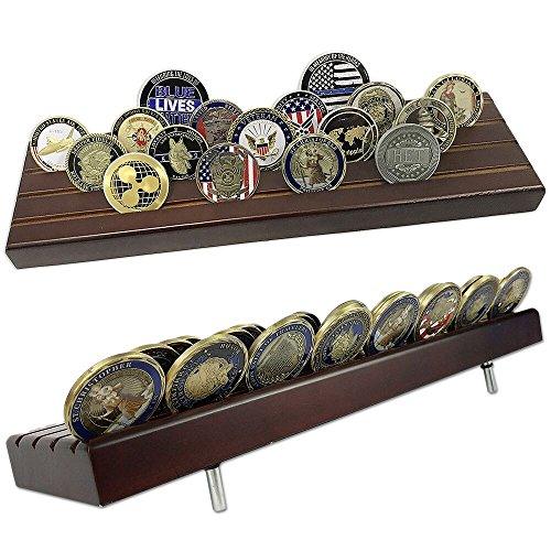 - Indeep 4 Rows Challenge Coins Stand Holder Display Rack Wooden for Collectors