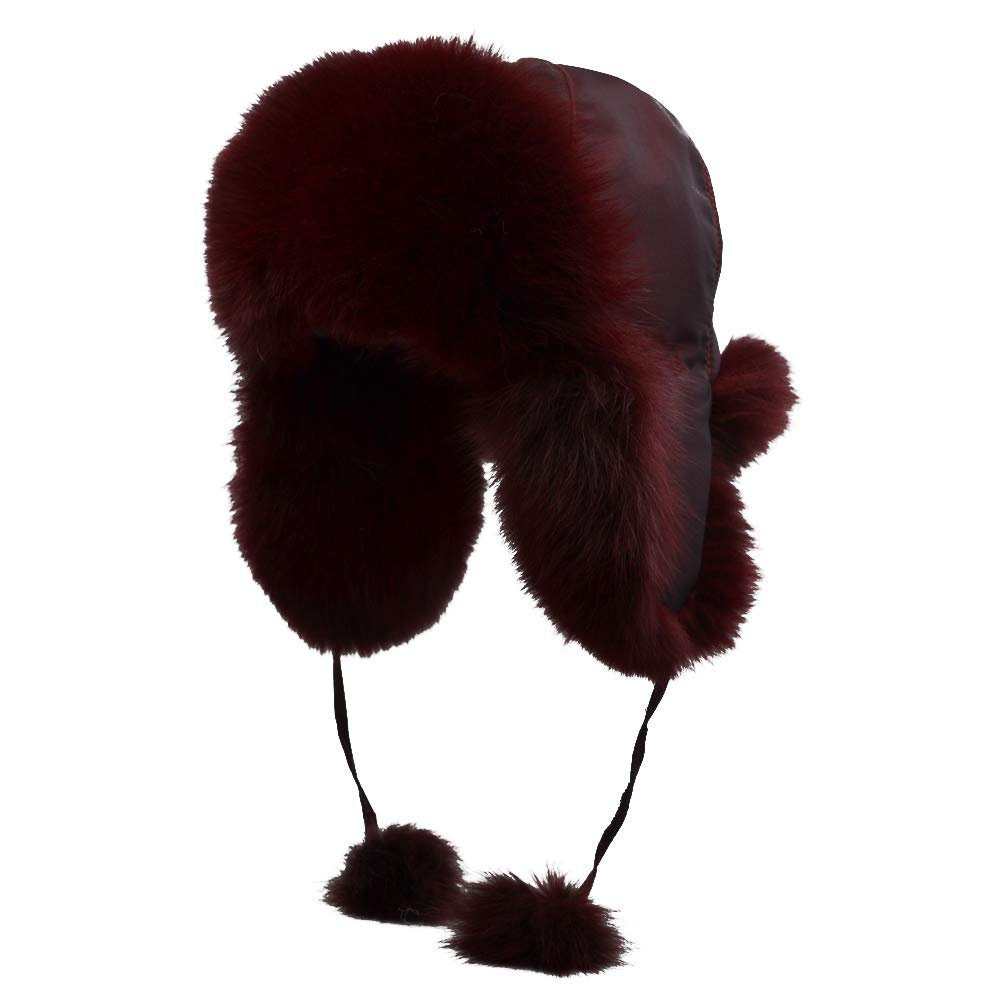 Yosang Fox Fur Russian Trooper Style Hat Adult Winter Ushanka Snow Hat Dark Red Fur & Dark Red Exterior by Yosang