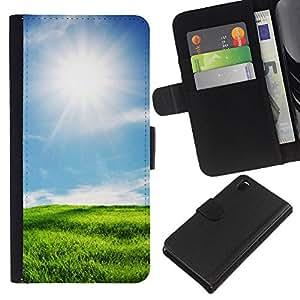 KingStore / Leather Etui en cuir / Sony Xperia Z3 D6603 / Soleado paisaje