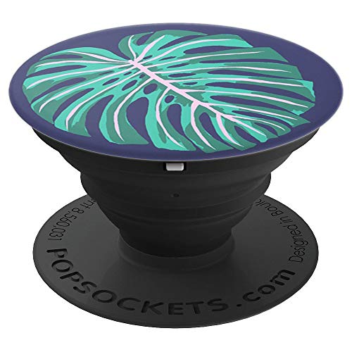 Vintage Palm Leaf - Stylized palm frond on dark blue - PopSockets Grip and Stand for Phones and Tablets -