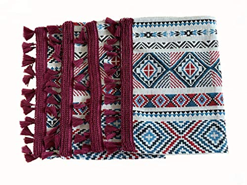 Eight Owls Placemats for Dining Table - Boho Style Place Mats with Tassel Fringe - Woven Design - Burgundy, Red, Black, Blue, Vanilla - Set of 4 - Size 13 x 19 Inch