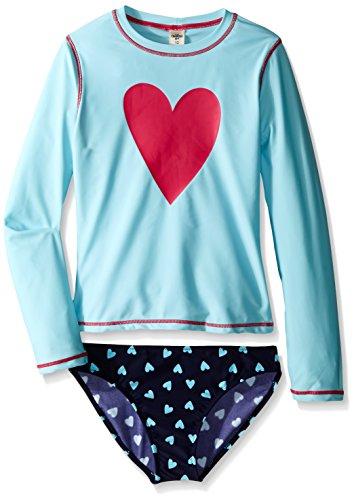 Osh Kosh Big Girls Long Sleeve Heart Rash Guard Set, Blue, 8