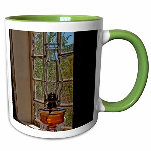 3dRose Danita Delimont - Antiques - USA, Arizona, Yuma, Castle Dome Museum, Lamp in window - 11oz Two-Tone Green Mug - Yuma Outlets