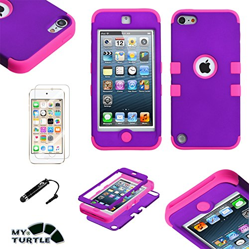 MYTURTLE iPod Touch 7th 6th 5th Generation Case Shockproof Hybrid Hard Silicone Shell Impact Cover with Screen Protector for iPod Touch 7 (2019), iPod Touch 5/6 (2015), Rubberized Purple Pink