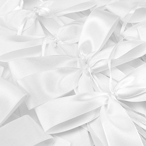 (Satin Ribbon Bows For Wedding Pew Gift Box Favours Card Party Decorations DIY (50 white))