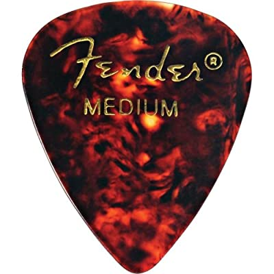 Fender 351 Shape Medium Classic Celluloid Picks, 12-Pack, Red Moto for electric guitar, acoustic guitar, mandolin, and bass