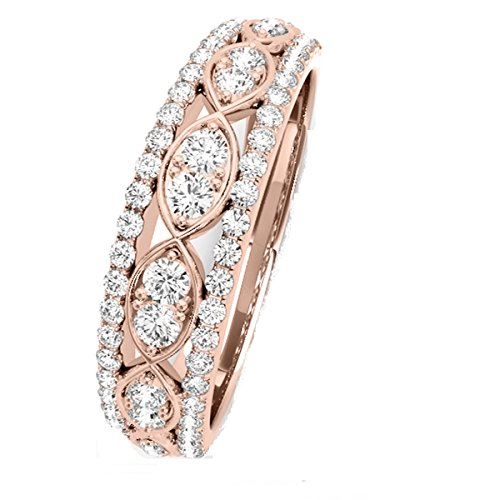 MauliJewels 0.50 Ctw. Diamond Delicate Wedding Band in 14K Rose ()