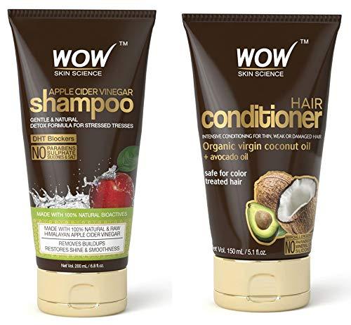 (Wow Apple Cider Vinegar Shampoo 6.8 fl oz + Wow Hair Conditioner 5.1 fl oz Sulphate & Parabeen Free)