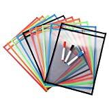Daptsy 10 Pieces Dry Erase Pockets with 3 Wipe Off Pens Reusable Write and Wipe Pockets for Office and Teaching Supplies Plastic Sheet Protectors(10×13 inch)