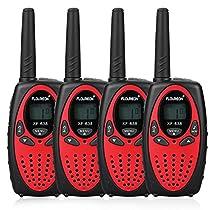4x FLOUREON Ricetrasmittente PMR Radio Ricetrasmittenti 8 Canali Walkie Talkies per Bambini 2 Way Radio, Nero