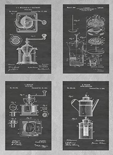 Vintage Coffee Maker & Bean Grinder Mill Wall Decor Collection: Set of Four Patent Print Art Posters: Choose From Multiple Size and Background Color Options - Collection Bean