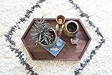 Long Wooden Hexagon Tray - Walnut Wood Centerpiece Rustic Modern Decor Table Vanity Handmade Geometric