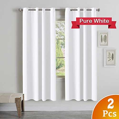 TURQUOIZE Thermal Insulated Room Darkening Grommet Window Curtain for Bedroom, Pure White, 52