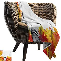 ZSUO Chunky Knit Blanket 60x78 Inch Clock,Autumnal Leaves and an Alarm Clock Fall Season Theme Romantic Digital Print,White and Orange Lightweight Breathable Flannel Fabric Machine Washable