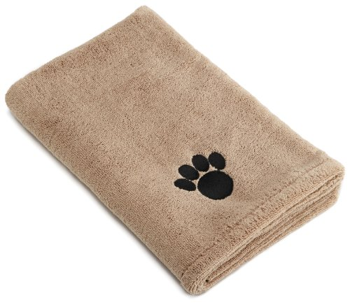 Bone Dry Microfiber Dog Bath Towel with Embroidered Paw Print, Large 44-Inch by 27-1/2-Inch, My Pet Supplies
