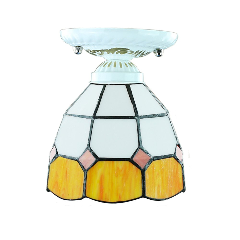 Lotedoor Semi-Flush Mount Ceiling Light,Tiffany StyleOrange & White Color for Hallway Study Room Office Bedroom