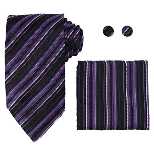 Y&G H6060 Purple Stripes Buy For Graduation Silk Ties Cufflinks Hanky Valentine Gift Set 3PT