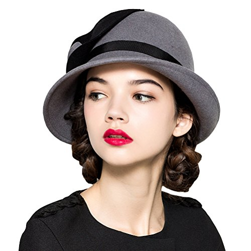 Maitose Women's Wool Felt Flowers Church Bowler Hats Gray