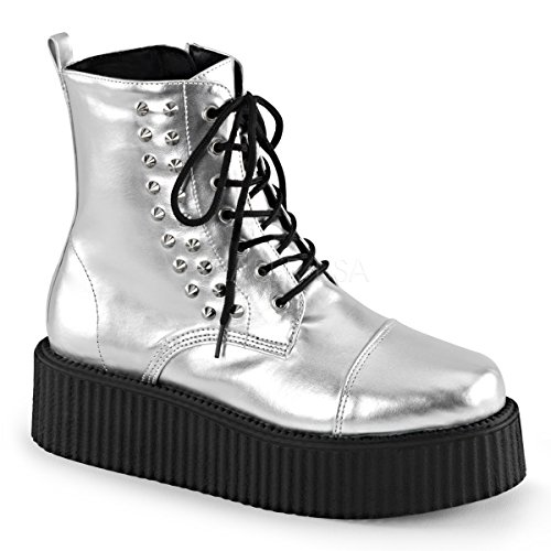 Demonia Uomo V-cre573 / Bvl Stivaletto Argento Vegan Leather