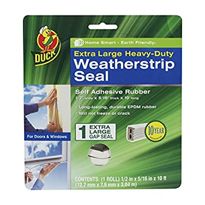 Duck Brand 282436 Heavy-Duty Self Adhesive Rubber Weatherstrip Seal for Extra Large Gap, 1/2-Inch x 5/16-Inch x 10-Feet, 1 Seal