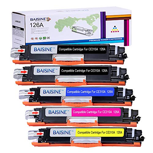 BAISINE Compatible Toner Cartridge Replacement for HP 126A CE310A CE311A CE312A CE313A for use in HP Laserjet Pro CP1025nw, CP1025, Laserjet Pro 100 Color MFP M175nw, M275 Laser Printer Ink (5-Pack)