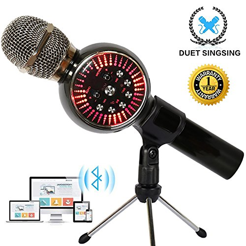 Karaoke Microphone Wireless Bluetooth Microphone for Kids Portable Handheld Karaoke Machine Home Party with LED lights Duet Singing Recording for Android iPhone iPad PC - 1PCS (Duet Recorder)