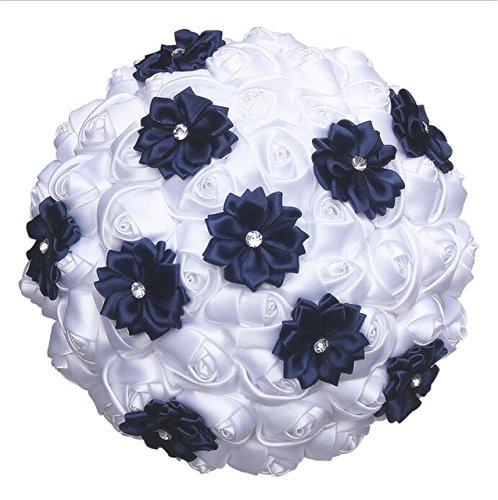 Buy White Navy Blue 21cm Diameter White Satin Roses Royal Blue Flower Wedding Bouquet Diamond Artificial Flowers De Mariage Bouquet Ramos De Ovia W2791 Custom Online At Low Prices In India