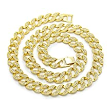 """AOVR Hot Hip Hop CUBAN LINK 15mm CZ CRYSTAL Gold Silver Plated Ruby Fully Iced-Out 30"""" Chain Necklace"""