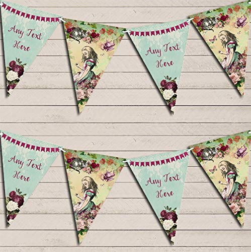Shabby Chic Alice in Wonderland Personalized Birthday Bunting Garland Banner Decoration -