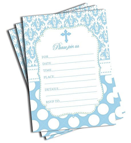 50 Blue Cross Invitations and Envelopes (Large Size 5x7) - Religious Celebration Invites - Baptism - Christening - First Communion - Confirmation