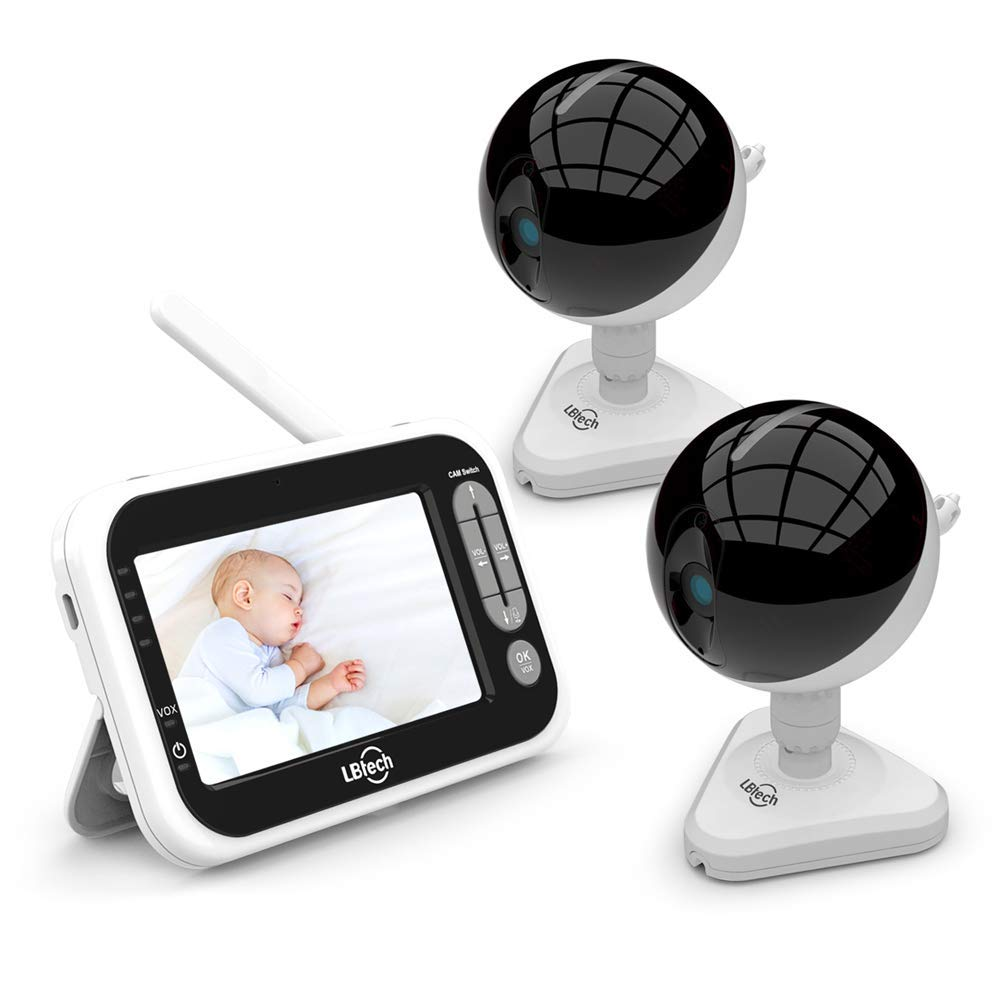 LBtech Video Baby Monitor with 2 Cameras and 4.3 inches Large LCD Screen,Automatic Night Vision,Two-Way Talkback Audio,Temperature Detection,Power Saving Vox,Zoom in Lens,Support Multi Camera