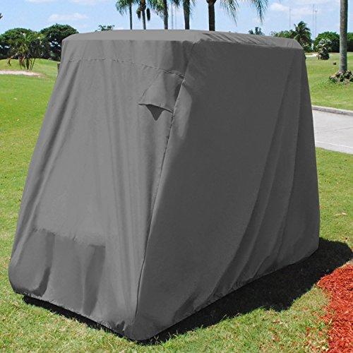 (KHOMO GEAR Golf Cart Cover - TITAN Series - 2 Passenger UNIVERSAL Storage Cover with Air Vents, Zipper and Elastic Hem)