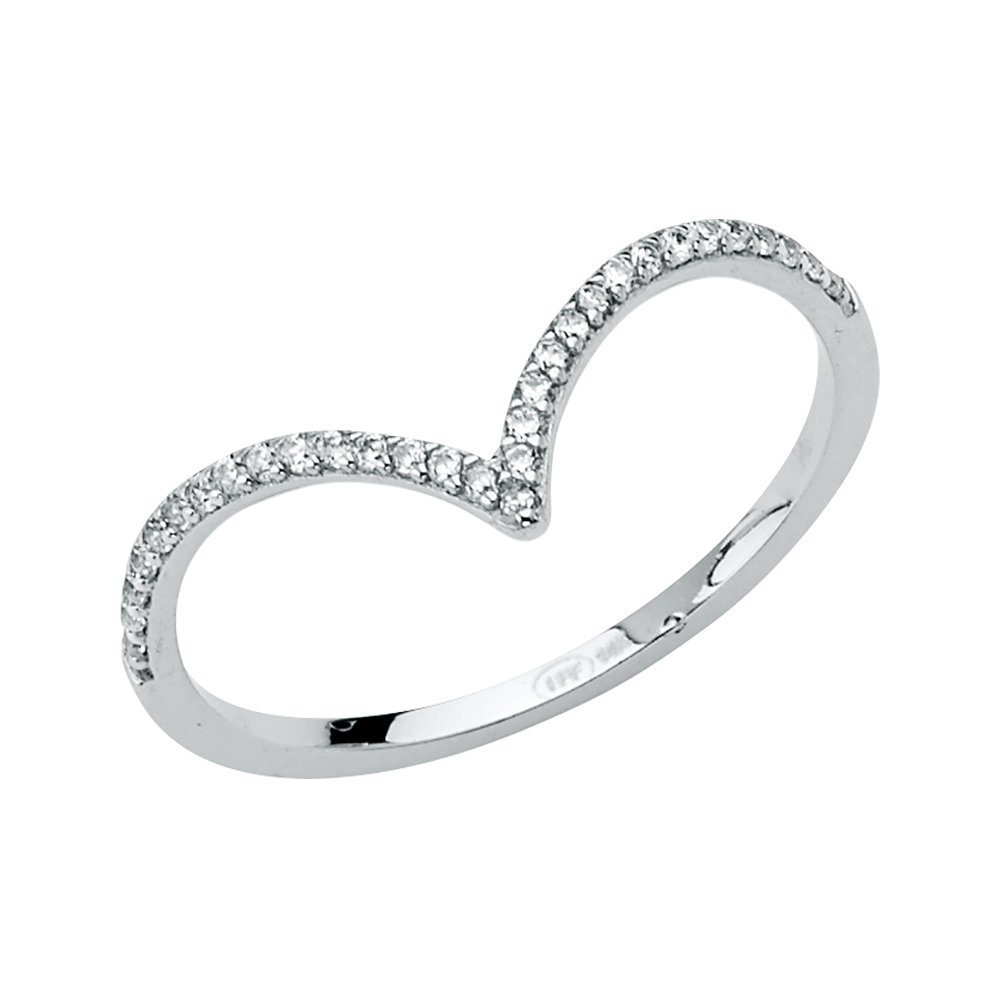 Wellingsale Ladies 14K White Gold CZ Cubic Zirconia Right Hand Ring Band - Size 6