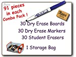 9 inch x 12 inch Blank Unlined Dry Erase Combo 30 Student Pack. A best seller for all grade levels and classes. . A total of 91 pieces comes with each kit including a free heavy duty zippered storage bag for carrying the ultra low odor dry erase mark...